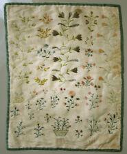 Exquisite! 1801 Antique German Needlework Silk Embroidery Sampler