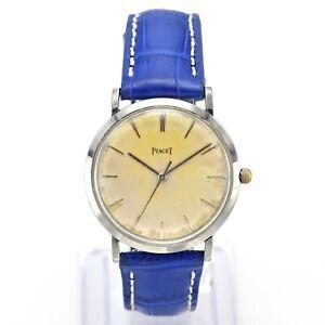 Vintage Piaget Stainless Steel 17 Jewels Hand Wind Men's Watch 34 mm