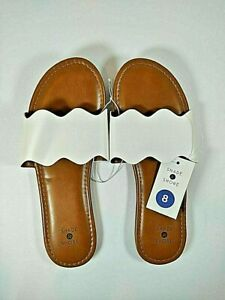 Shade & Shore White Tan Scalloped Women's Flat Open Toe Slip-On Sandals Size 8