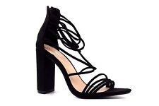 a8fe457d93d2 Boohoo Womens UK 4 EU 37 Black Faux Suede High Block Heel New Sandals Shoes