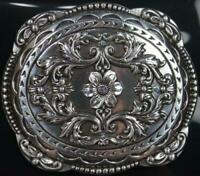 Nocona Western Horse Rider Blazin Roxx Belt Buckle Floral Rhinestones Silver