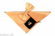 Mens Plain Bow Tie Handkerchief and cuff links set Beige Champagne No3