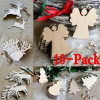 1-10PC Craft Wood Ornament DIY Christmas Deer Reindeer Hanging Decoration Xmas