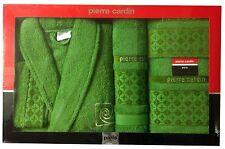 PIERRE CARDIN LUXURY 4 PIECE BATHROBE TOWEL SET MOSS GREEN JACQUARD DESIGNER
