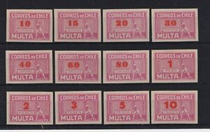 CHILE Caupolican due stamps red-rose full set UNUSED NO gum red overprint
