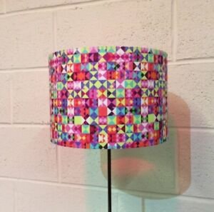 Beautiful Handmade Drum Lampshade In Michael Miller 'What's Your angle?' Fabric