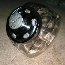 New listing Glass Cat Treat Jar With Silver Metal Lid ~ Says Good Kitty * Great Condition!