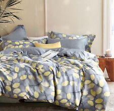 Sistes 100% Cotton gray yellow king size Comforter Set geometric floral leaves