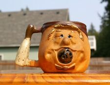 """Bowling Dipped Pottery Coffee Ugly Mug Face 3 3/4"""" Tall Ball in Mouth Pin Handle"""
