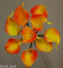 LATEX FLOWERS BOUQUETS CALLA LILY ORANGE YELLOW WEDDING BOUQUET POSY LILIES