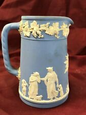 """5 1/4"""" Tall Wedgwood Blue Pitcher with Raised White Grecian Scenes of Family"""