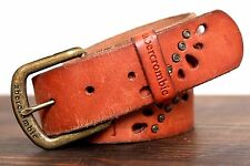 ABERCROMBIE CRYSTAL BRITISH TAN BROWN GENUINE LEATHER BRASS BUCKLE BELT S M (*14