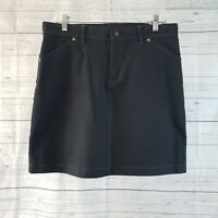Sahalie Womens Skirt Sz 10 Solid Black Cotton Blend Pockets