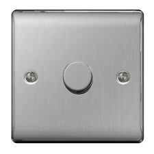 NBS81P BG NEXUS SATIN CHROME / BRUSHED STEEL 1 GANG SINGLE LED DIMMER SWITCH
