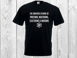 Protons, Neutrons, Electrons & MORONS - Novelty Science Geek T-Shirt