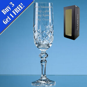 Personalised Engraved 180ml Flamenco Crystalite Full Cut Champagne Flute