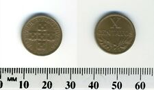 Portugal 1968 - 10 Centavos Bronze Coin - Circles within cross