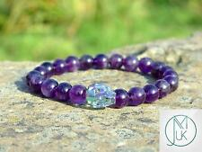 Men/Women Amethyst Skull Bracelet with Swarovski Shine Crystal 7-8inch Healing