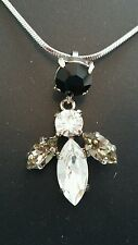 Gorgeous Dark Crystal Combo Bee Pendant. Made in UK