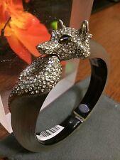 "ALEXIS BITTAR Lucite Wolf Hinged Bracelet Bangle Swarovski Crystal 6"""