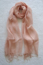 100% Linen Women and Girls Scarf (Light Pink)