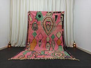 "Pink Handmade Boujad Moroccan Rug 5'2""x 8'6"" Tribal Wool Diamond Berber Carpet"