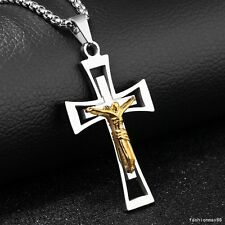 Womens Mens Gold Silver Stainless Steel Jesus Cross Pendant Box Chain Necklace