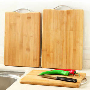 Bamboo Wooden Chopping Reversible Cutting Board With Handle Heavy Duty