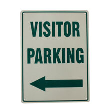 WARNING NOTICE VISITOR PARKING SIGN LEFT ARROW METAL SIGN 225x300mm OFFICE PRO