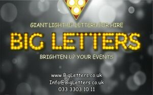 HIRE 4ft Giant LED Light Up Letters for Weddings, Birthdays, Baby Showers, etc.