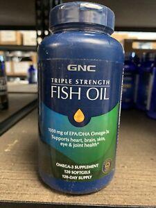 GNC Triple Strength Fish Oil 120 Softgels 1000mg Fast FREE Shipping