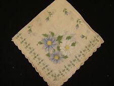 "Womens Floral White Thin Square 13"" x 13"" Fabric Handkerchief Towel Hanky"
