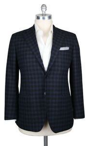 New Kiton Navy Blue Wool & Cashmere Check Sportcoat - 44/54 - (KT1012174)