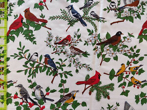 Lot Cranston Print Works, 8 Yards, Realistic Birds, Looks Like Quilting Cotton