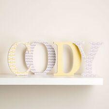Letras de madera Personalizado Amarillo y Gris Neutral elefantes Diseño Para Vivero