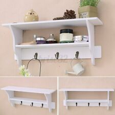 2-Tier Wall Mount Shelf Ornament Sundries Storage Holder Organizer Rack Hooks