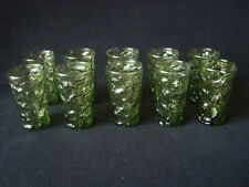 10 Green Lido Milano Anchor Hocking Fire King 4 inch Tall Juice Glass Tumblers