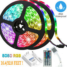 32FT Flexible RGB LED SMD 5050 Strip Light Remote Fairy Lights Room TV Party Bar