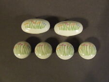 ANTIQUE OVAL AND CIRCLE WHITE PORCELAIN DRAWER PULL KNOBS W/ HAND PAINTED TULIPS