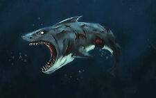 A4 Poster - Beat Up Old Cartoon Great White Shark (Picture Print Animal Fish Art