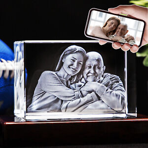 3D Photo Crystal Rectangle Custom Laser Etched Print Personalized Engraved Art