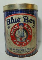 Antique Vintage 1930s BLUE BOY FRUITS ADVERTISING TIN 30 POUND OAKFIELD NEW YORK