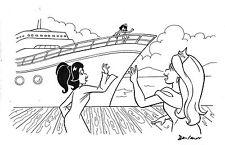 Cruise Ship - Dan Parent splash page 11x17 original Archie style comic art