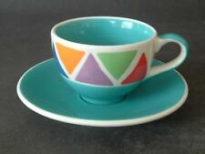 BRIGHT HANDPAINTED WHITTARD OF CHELSEA COFFEE CUP & SAUCER - TRIANGLES