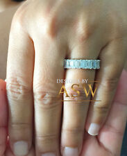Engagement Eternity Band Prong 5.00Ctw 14K Solid White Gold Emerald Moissanite