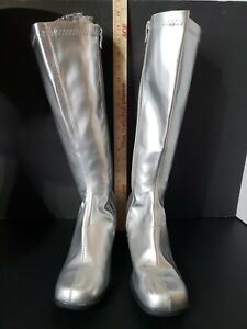 Ellie Shoes Women's Gogo Square Toe Knee High Fashion Boots Silver Size 10