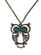 Owl Pendant Necklace Long Chain Retro Fashion Style Rhinestone