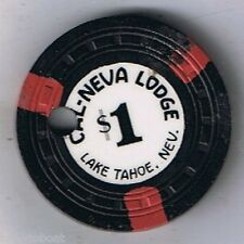 Cal Neva Lodge $1.00 Casino Chip Black 1955 Lake Tahoe Nevada