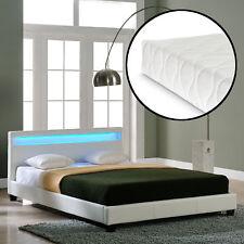 Corium LED DESIGN Lit Capitonné + matelas 140 x 200 cm similicuir blanc LIT
