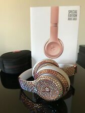 Custom Beats by Dr Dre Solo3 Wireless Headphones Rose Gold with Swarovsk jewels